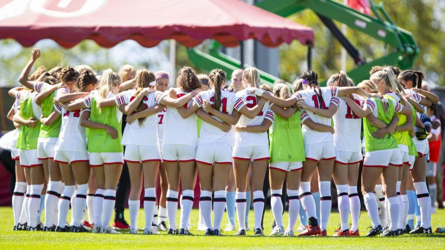 The University of Utah's Women's Soccer team huddle up prior to the start of the game in an NCAA Women's Soccer game vs. San Diego University at Ute Field in Salt Lake City, UT on Sunday September 22, 2019.(Photo by Curtis Lin | Daily Utah Chronicle)