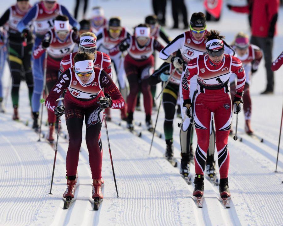 University of Utah ski team hosts the Utah Invite where various teams compete in Nordic ski racing at Soldier Hollow, in Heber Utah on Sunday and Monday, January 10-11, 2015