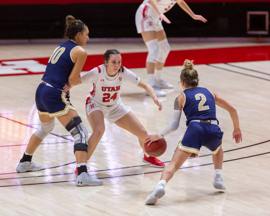 University of Utah women's basketball player, KENNADY MCQUEEN (#24), plays defense in the game against Montana State University on Dec. 11, 2020 in the Jon M. Huntsman Center in Salt Lake City. (Photo by Jack Gambassi | The Daily Utah Chronicle)