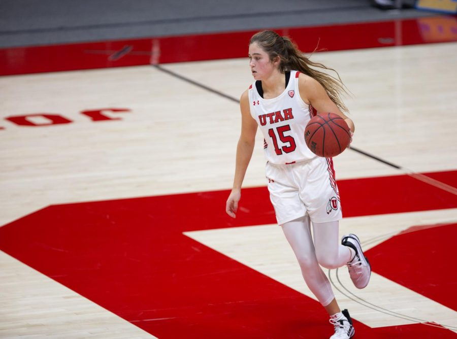 University of Utah women's basketball player, Kemery Martin (#15), brings the ball down the court in the game against Arizona State University in the Jon M. Huntsman center in Salt Lake City on Dec. 18, 2020. (Photo by Jack Gambassi | The Daily Utah Chronicle)