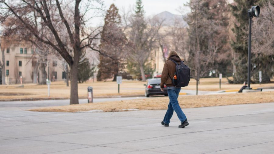 A student walks around President's Circle on campus on Feb. 2, 2021. (Photo by Jack Gambassi | The Daily Utah Chronicle)