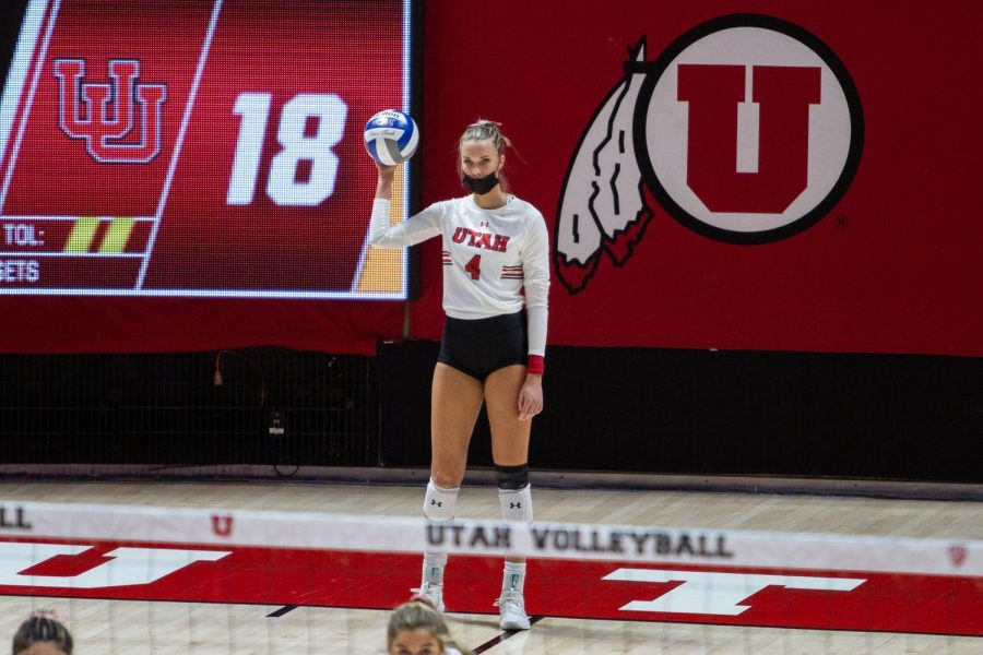 U of U Volleyball's Senior outside hitter, Kenzie Koerber (#4), in the game vs the USC Trojans on Feb. 14, 2021 at the Jon M. Huntsman Center on campus. (Photo by Jack Gambassi | The Daily Utah Chronicle)