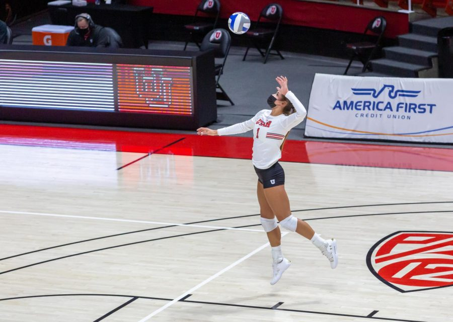 University of Utah senior Dani Drews (1) in a NCAA Women's Volleyball game vs. the Arizona Wildcats at the Jon M. Huntsman Center in Salt Lake City, Utah on Friday, Jan. 22, 2021. (Photo by Kevin Cody | The Daily Utah Chronicle)
