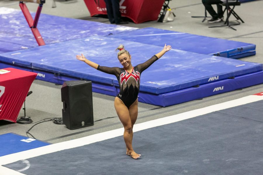University of Utah senior Sydney Soloskiin a NCAA Women's Gymnastics meet vs. the Washington Huskies at the Jon M. Huntsman Center in Salt Lake City, Utah on Friday, Jan. 30, 2021. (Photo by Kevin Cody | The Daily Utah Chronicle)