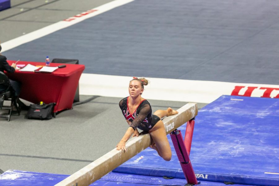 University of Utah sophomore MaiIe O'Keefe in a NCAA Women's Gymnastics meet vs. the Washington Huskies at the Jon M. Huntsman Center in Salt Lake City, Utah on Friday, Jan. 30, 2021. (Photo by Kevin Cody | The Daily Utah Chronicle)