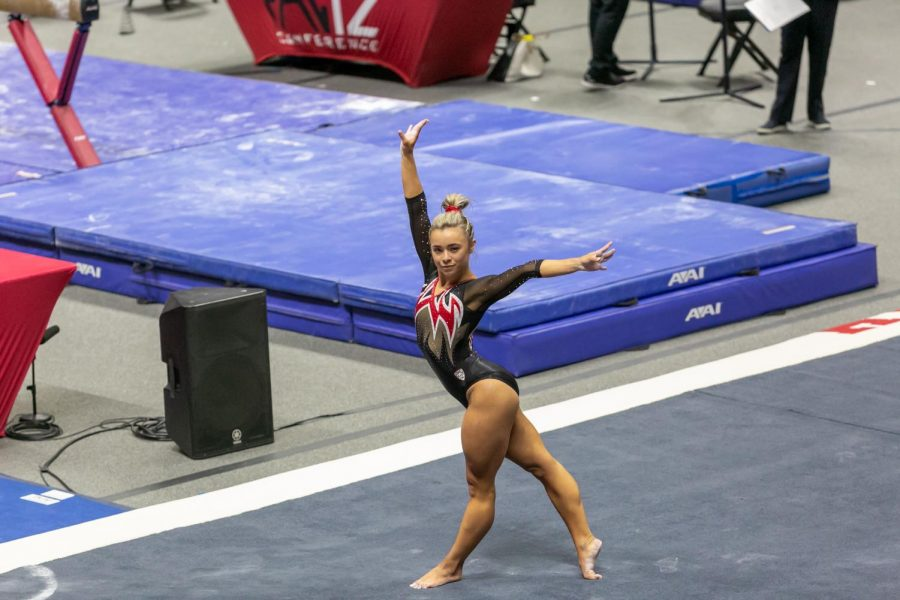 University of Utah senior Sydney Soloski in a NCAA Women's Gymnastics meet vs. the Washington Huskies at the Jon M. Huntsman Center in Salt Lake City, Utah on Friday, Jan. 30, 2021. (Photo by Kevin Cody | The Daily Utah Chronicle)