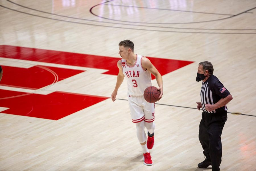 University of Utah freshman guard Pelle Larsson (3) in a NCAA Basketball game vs. the Arizona Wildcats at the Jon M. Huntsman Center in Salt Lake City, Utah on Thursday, Feb. 4, 2021. (Photo by Kevin Cody | The Daily Utah Chronicle)