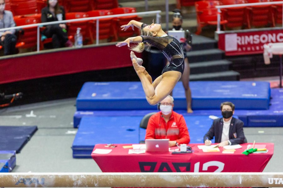 University of Utah junior Adrienne Randall in a NCAA Women's Gymnastics meet vs. the UCLA Bruins at the Jon M. Huntsman Center in Salt Lake City, Utah on Friday, Feb. 19, 2021. (Photo by Kevin Cody | The Daily Utah Chronicle)