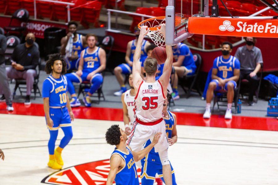 University of Utah sophomore center Branden Carlson (35) in a NCAA Basketball game vs. UCLA at the Jon M. Huntsman Center in Salt Lake City, Utah on Thursday, Feb. 25, 2021. (Photo by Kevin Cody | The Daily Utah Chronicle)