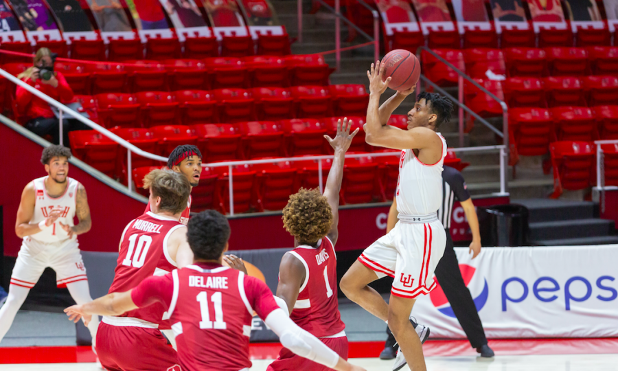 University of Utah freshman guard Ian Martinez (2) scores during an NCAA Basketball game vs. the Stanford Cardinals at the Jon M. Huntsman Center in Salt Lake City, Utah on Thursday, Jan. 14, 2021. (Photo by Kevin Cody | The Daily Utah Chronicle)