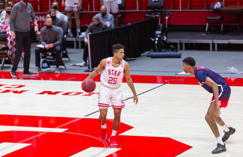 University of Utah senior guard Alfonso Plummer (25) in a NCAA Basketball game vs. the Arizona Wildcats at the Jon M. Huntsman Center in Salt Lake City, Utah on Thursday, Feb. 4, 2021. (Photo by Kevin Cody | The Daily Utah Chronicle)