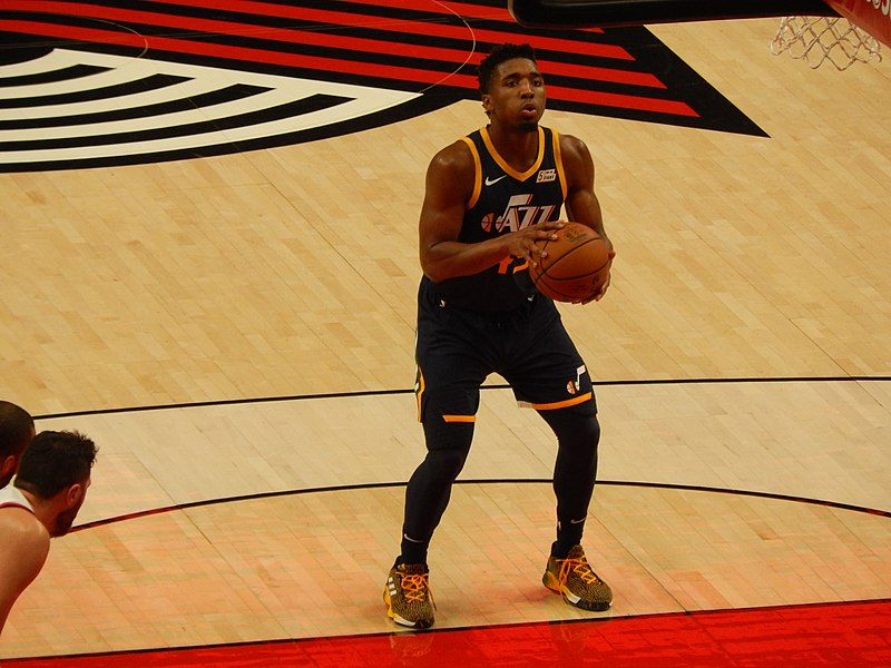 Donovan Mitchell #45 of the Utah Jazz against the Portland Trail Blazers on October 7, 2018 at Moda Center in Portland, Oregon (Image Via Wiki Commons)
