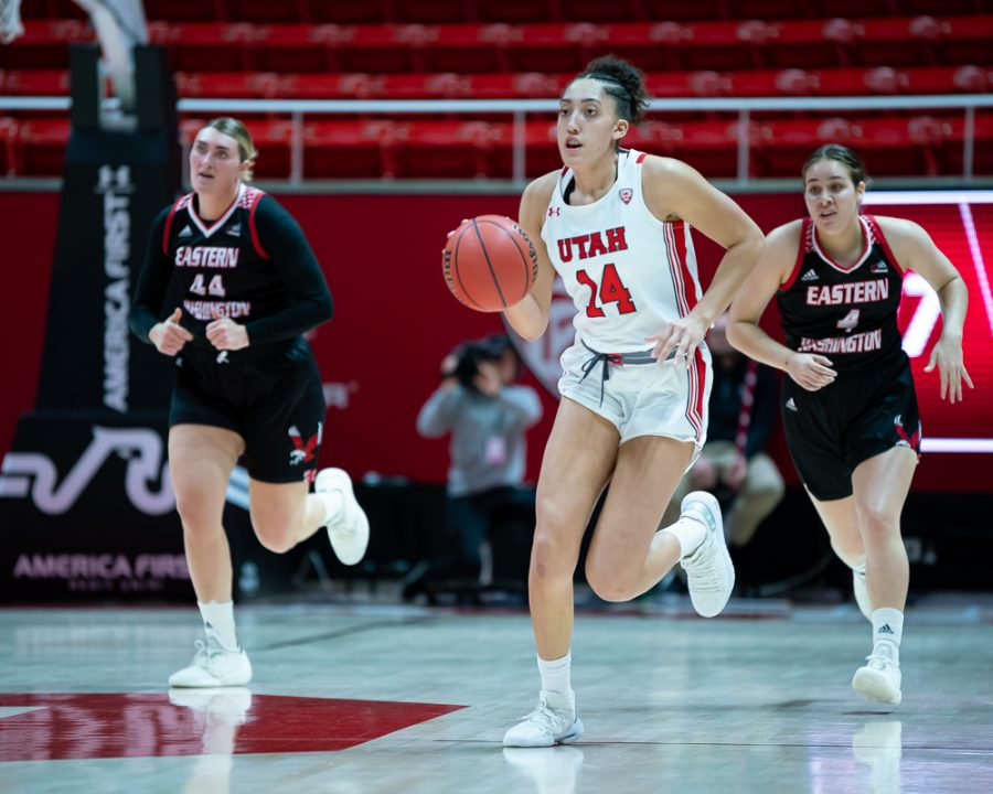 University of Utah Utes Women's Basketball Team Wing Niyah Becker (14) dribbles with the ball during an NCAA Basketball match vs. the Eastern Washington Eagles at the Jon M. Huntsman Center in Salt Lake City, Utah on Monday, Nov. 18, 2019. (Photo by Abu Asib | The Daily Utah Chronicle)
