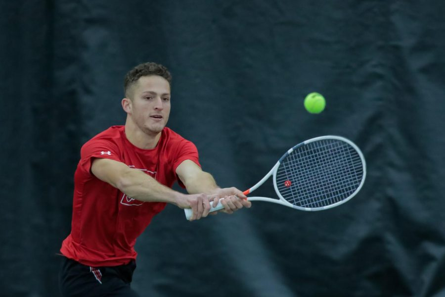 Utah Mens' Tennis player and University of Utah senior Slava Shainyan plays during an NCAA dual meet against the Idaho State Bengals at the George Eccles Tennis Center in Salt Lake City on Jan 30, 2021 (Abu Asib | The Daily Utah Chronicle)