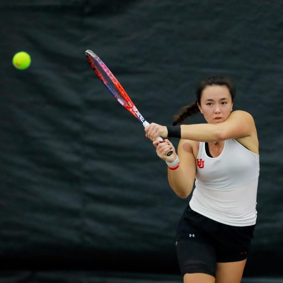 The Utah Women's Tennis player and University of Utah junior Anya Lamoreaux plays against the New Mexico State University in an NCAA dual Meet at the Jon M. Huntsman Tennis Center on 04 Feb. 2021 (Photo by Abu Asib | The Daily Utah Chronicle)