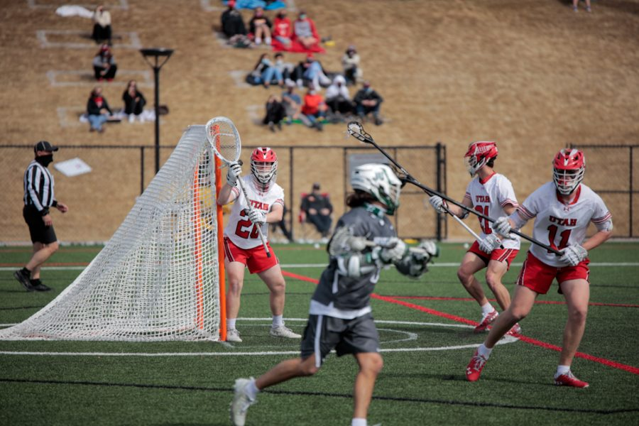 University of Utah sophomore and Utes Lacrosse team goalkeeper Zack Johns takes guard during an NCAA game vs. the Jacksonville Dolphines in Salt Lake City on March 6, 2021 (Photo by Abu Asib | The Daily Utah Chronicle)