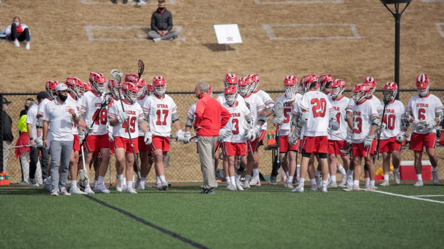 University of Utah Utes Lacrosse Team Head Coach Brian Holman preps the team after 1st half during an NCAA game against the Jacksonville Dolphins in Salt Lake City on March 6, 2021 (Photo by Abu Asib | The Daily Utah Chronicle)