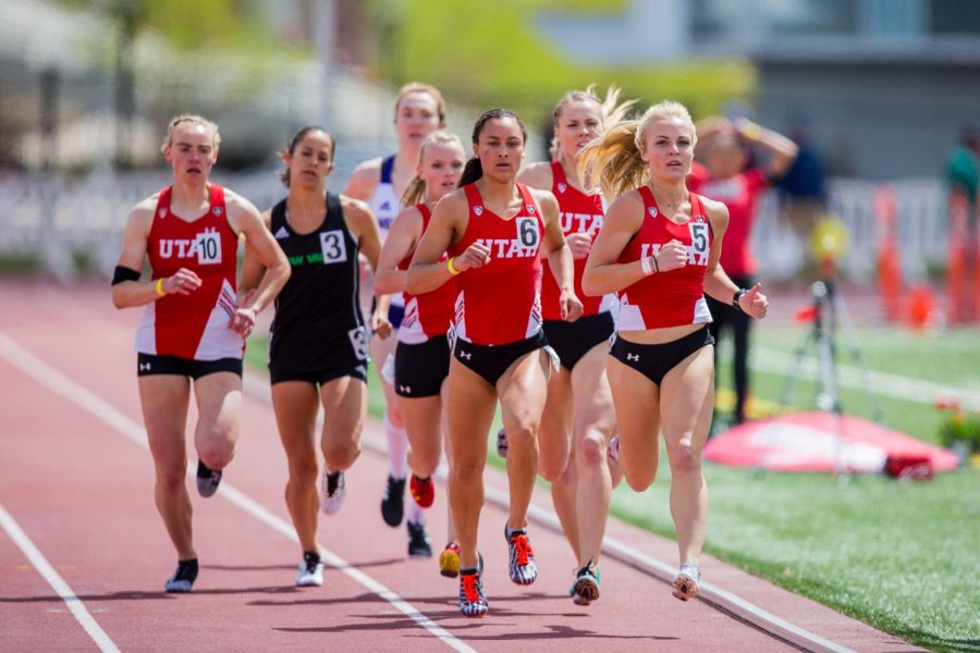 University of Utah junior distance runner Sarah Newton (5) led the Utes in the final heat of the Women's 800 Meter run in an NCAA Track and Field meet at the McCarthey Family Track and Field Complex in Salt Lake City, UT on Saturday April 13, 2019.(Photo by Curtis Lin | Daily Utah Chronicle)