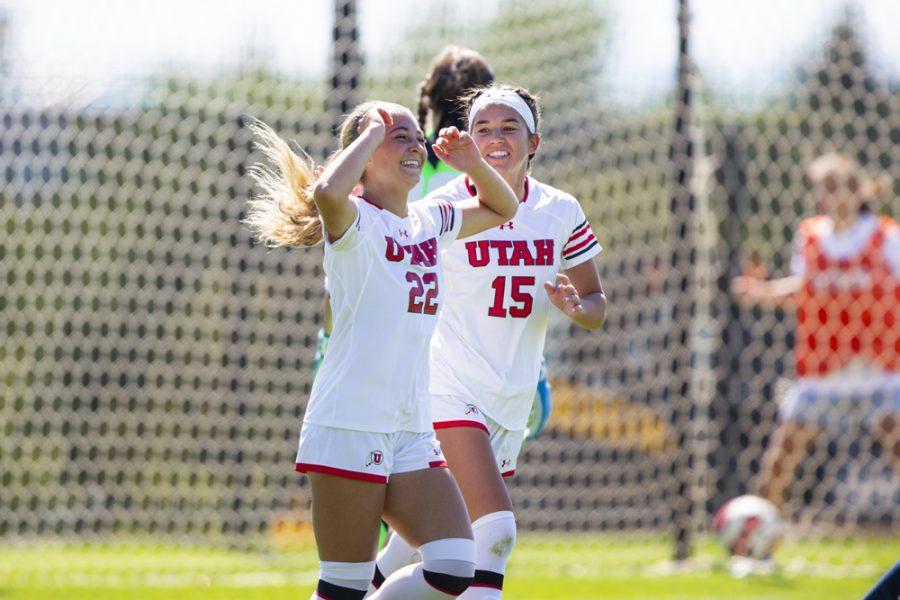 University of Utah sophomore forward Anna Escobedo (22) celebrates after scoring a goal in an NCAA Women's Soccer game vs. San Diego University at Ute Field in Salt Lake City, UT on Sunday September 22, 2019.  (Photo by Curtis Lin | Daily Utah Chronicle)