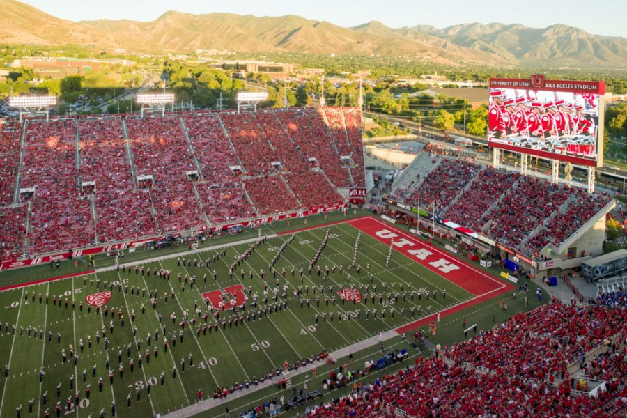 The University of Utah and BYU marching bad performed together at halftime during the game vs. the Brigham Young University Cougars at Rice-Eccles Stadium on Saturday, September 10, 2016