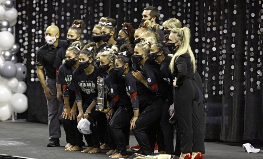 University+of+Utah+Gymnastics+team+celebrating+after+winning+the+Pac-12+Championship+at+the+Maverik+Center+on+Saturday%2C+March+20th%2C+2021.+%28The+Daily+Utah+Chronicle+%7C+Photograph+by+Kevin+Cody%29