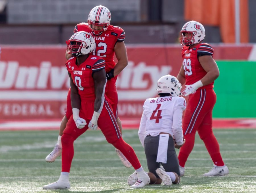 University of Utah Football player Devin Lloyd (#0) after sacking the opposing quarterback, Jayden de Laura (#4) in the Utes' comeback win against Washington State University on Dec. 18, 2020 in Rice-Eccles Stadium in Salt Lake City. (Photo by Jack Gambassi | The Daily Utah Chronicle)