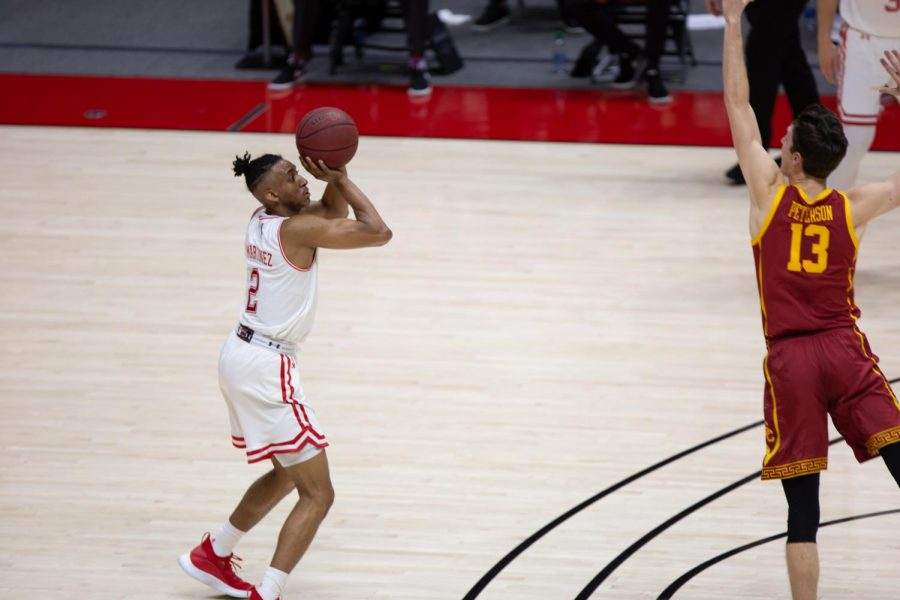 U of U freshman guard, Ian Martinez (#2), during the game vs. the USC Trojans on Feb. 27th, 2021 at the Jon M. Huntsman Center on campus. (Photo by Jack Gambassi | The Daily Utah Chronicle)