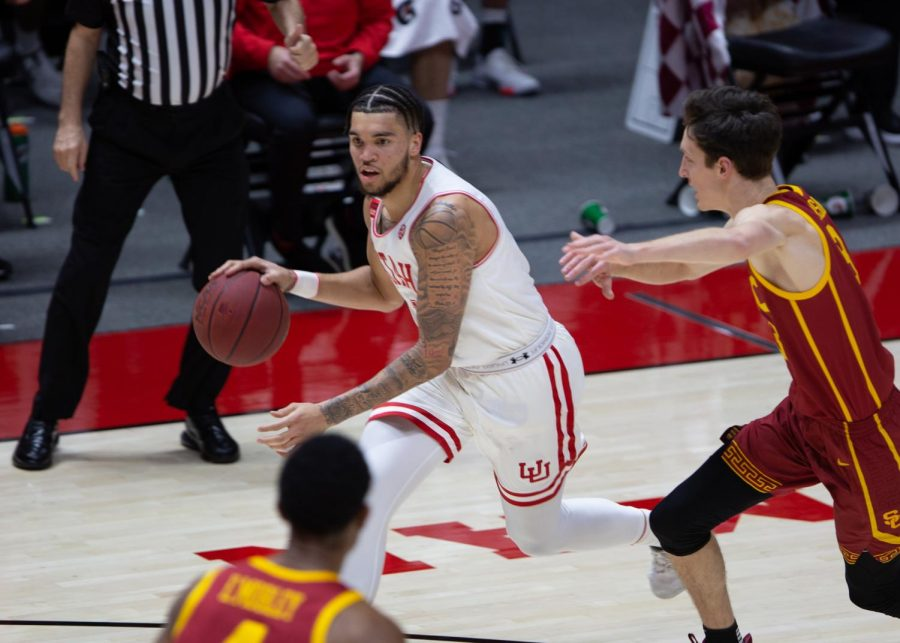 U of U junior forward, Timmy Allen (#1), during the game vs. the USC Trojans on Feb. 27th, 2021 at the Jon M. Huntsman Center on campus. (Photo by Jack Gambassi | The Daily Utah Chronicle)