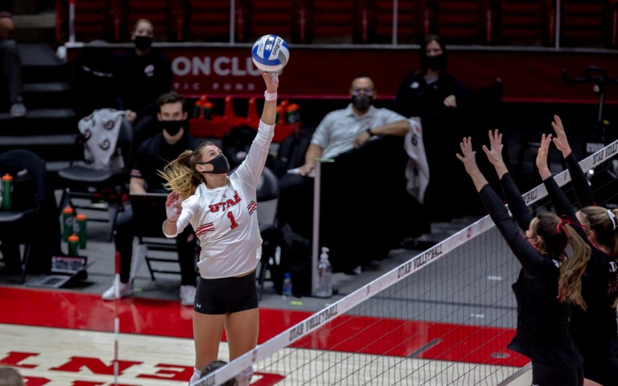 U of U Volleyball player, Dani Drews (#1), during the game against Stanford on Mar 5, 2021 at the Jon M. Huntsman Center on campus. (Photo by Jack Gambassi | The Daily Utah Chronicle)