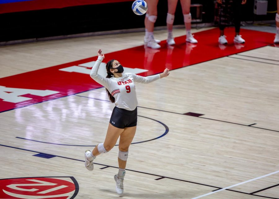 U of U Volleyball's Junior Setter, Saige Ka'aha'aina-Torres (#9), in the game vs the Stanford Cardinals on Mar. 5, 2021 at the Jon M. Huntsman Center on campus. (Photo by Jack Gambassi | The Daily Utah Chronicle)
