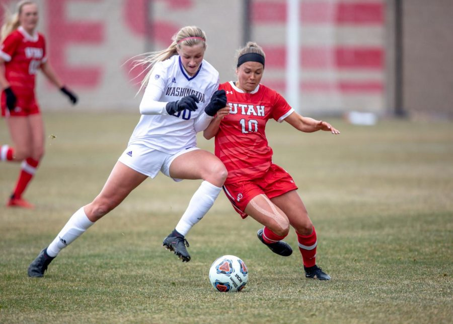 University of Utah's Haley Farrar (Midfielder, R-Jr.) battles for the ball during the game against the Washington Huskies on March 26, 2021 at ute field on campus. (Photo by Jack Gambassi | The Daily Utah Chronicle)