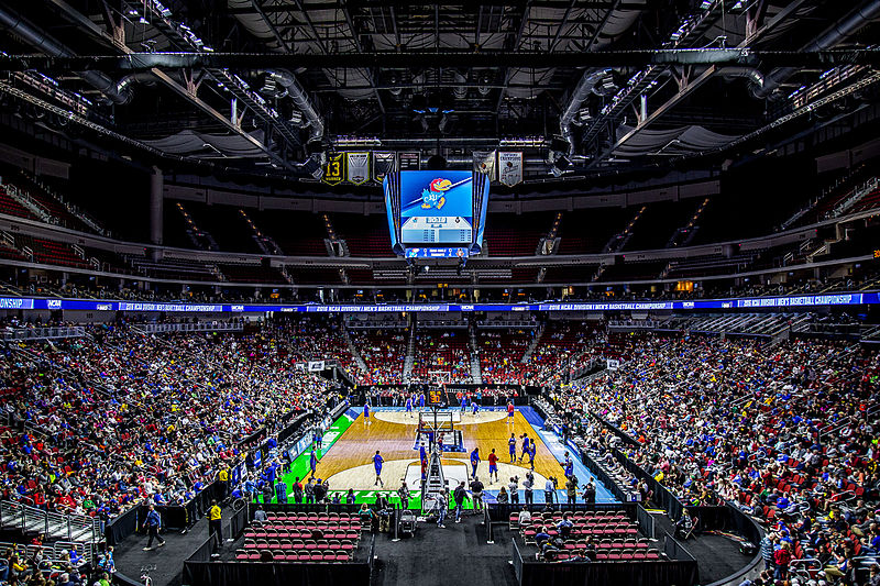 Photos from practices sessions for the NCAA basketball tournament. The overall number one seed Kansas Jayhawks were on the court when I stopped by the venue. The first and second rounds are being held for the first time ever in Des Moines at Wells Fargo Arena. (Image via WikiMedia Commons)