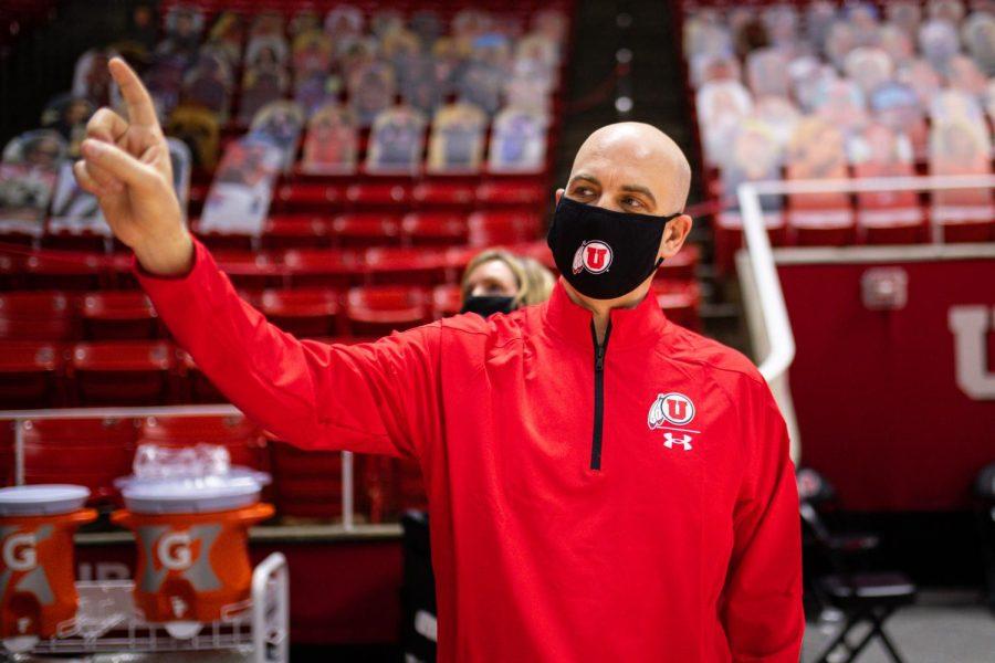 New University of Utah head men's basketball coach Craig Smith tours the Jon M. Huntsman Center. (Image courtesy Utah Athletics)