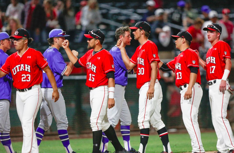 The Utes baseball team celebrates a victory against the BYU cougars at Smith's Ballpark May 8, 2018.(Photo by: Justin Prather | Daily Utah Chronicle).