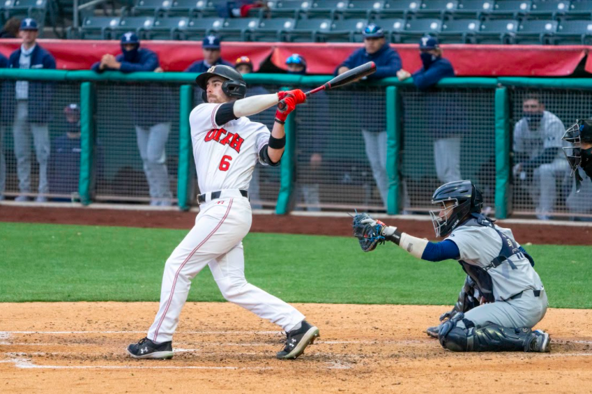 University of Utah redshirt junior Vinny Zavolta(6) in a NCAA Baseball game vs. BYU at Smith's Ballpark in Salt Lake City, Utah on Thursday, Mar. 11, 2021. (Photo by Kevin Cody | The Daily Utah Chronicle)