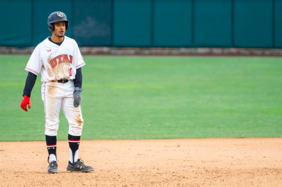 University of Utah graduate student Jaylon McLaughlin(10) in a NCAA Baseball game vs. BYU at Smith's Ballpark in Salt Lake City, Utah on Thursday, Mar. 11, 2021. (Photo by Kevin Cody | The Daily Utah Chronicle)