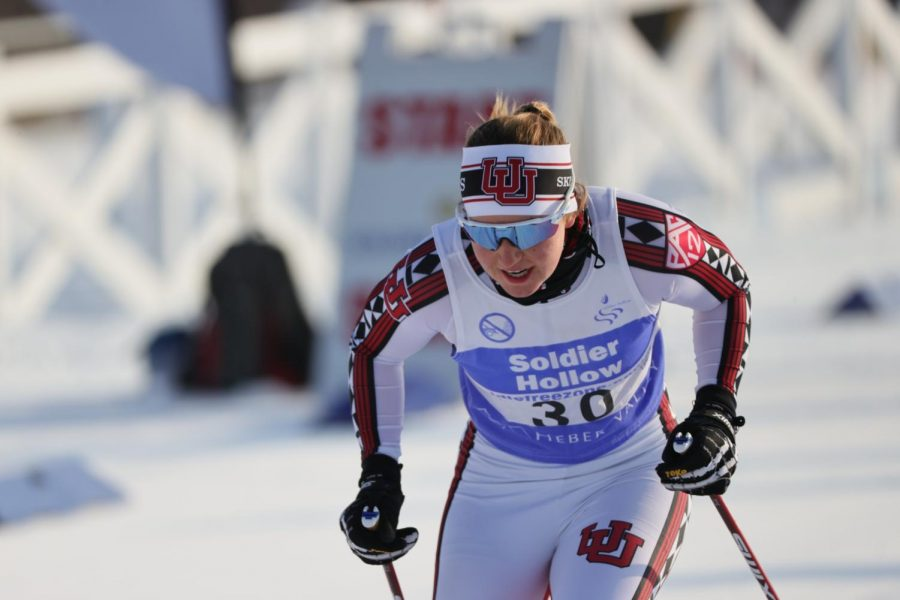 University of Utah Ski Team member Sydney Palmer-Leger in a race. (Image courtesy of Utah Athletics)