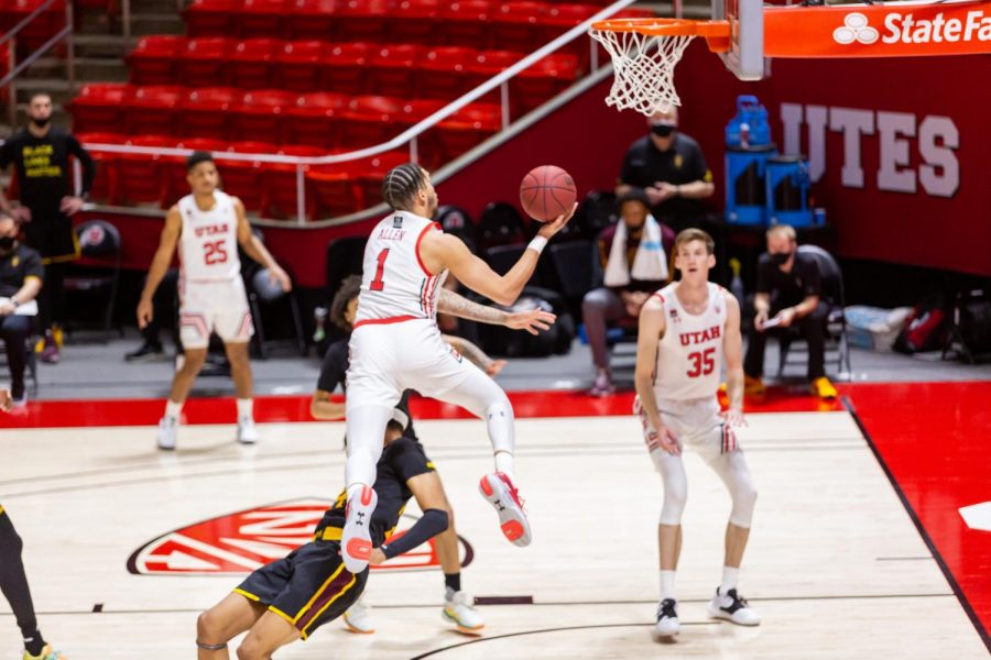 University of Utah junior forward Timmy Allen (1) in a NCAA Basketball game vs. Arizona State at the Jon M. Huntsman Center in Salt Lake City, Utah on Saturday, Mar. 06, 2021. (Photo by Kevin Cody | The Daily Utah Chronicle)