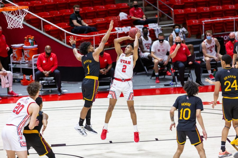 University of Utah freshman guard Ian Martinez(15) in a NCAA Basketball game vs. Arizona State at the Jon M. Huntsman Center in Salt Lake City, Utah on Saturday, Mar. 6, 2021. (Photo by Kevin Cody | The Daily Utah Chronicle)