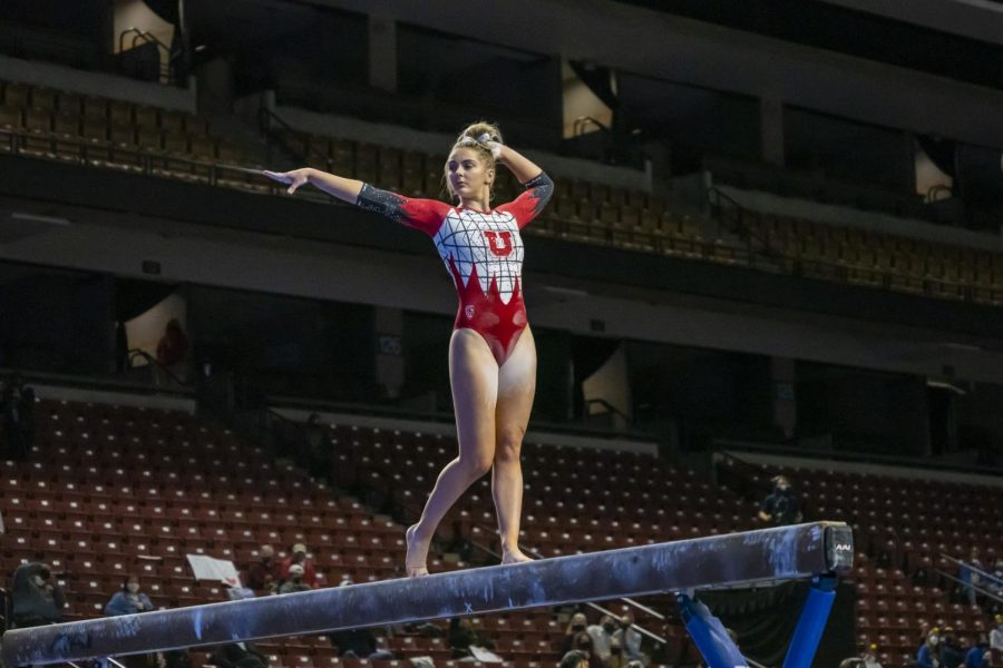 University of Utah freshman Lucy Stanhope at the Pac-12 Gymnastics Championship at the Maverik Center on March  20, 2021. (Photo by Kevin Cody | The Daily Utah Chronicle)