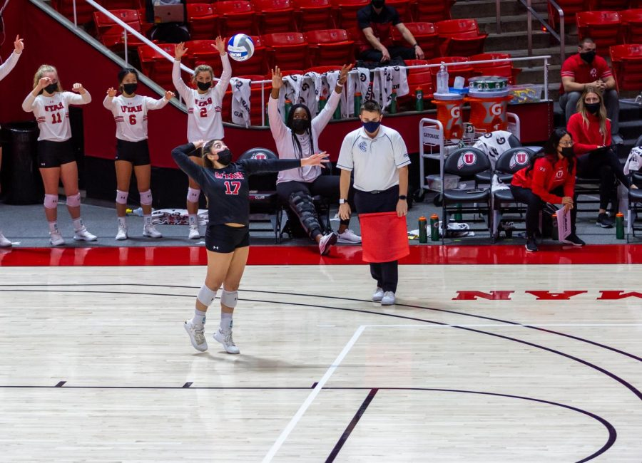 University of Utah freshman Vanessa Ramirez (17) in a NCAA Women's Volleyball game vs. the Stanford Cardinals at the Jon M. Huntsman Center in Salt Lake City, Utah on Sunday, Mar. 07, 2021. (Photo by Kevin Cody | The Daily Utah Chronicle)