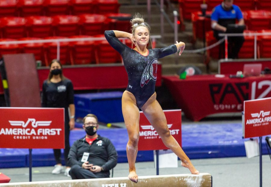 University of Utah sophomore Maile O'Keefe in a NCAA Women's Gymnastics meet vs. the University of California at the Jon M. Huntsman Center in Salt Lake City, Utah on Friday, Feb. 26, 2021. (Photo by Kevin Cody | The Daily Utah Chronicle)