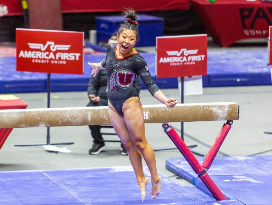 University of Utah juinor Crystal Isa in a Gymnastics meet vs. the University of California at the Jon M. Huntsman Center in Salt Lake City, Utah on Friday, Feb. 26, 2021. (Photo by Kevin Cody | The Daily Utah Chronicle)