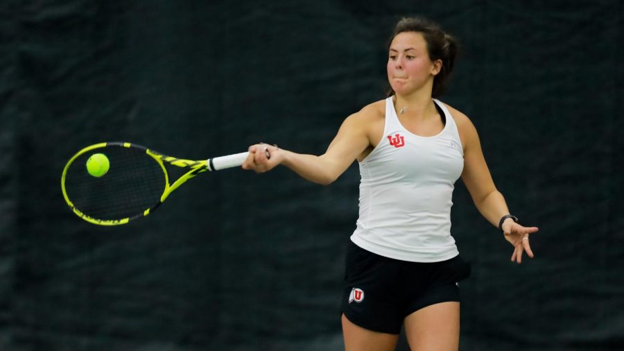 The Utah Women's Tennis player and University of Utah junior Lindsay Hung plays against the New Mexico State University in an NCAA dual Meet at the Jon M. Huntsman Tennis Center on 04 Feb. 2021 (Photo by Abu Asib | The Daily Utah Chronicle)