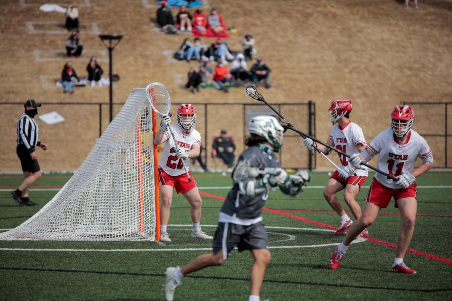 University of Utah sophomore and Utes Lacrosse team goalkeeper Zack Johns takes guard during an NCAA game vs. the Jacksonville Dolphines in Salt Lake City on March 6, 2021 (Photo by Abu Asib | Daily Utah Chronicle)
