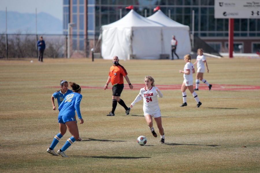 University of Utah Soccer Team plays an NCAA game against University of California Los Angeles in at the Utes Soccer Field in Salt Lake City on 14 March 2021 (Photo by Abu Asib | The Daily Utah Chronicle)