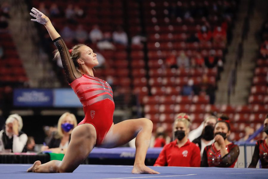 Utah Red Rocks gymnast and University of Utah sophomore Maile O'Keefe performs on the floor during the Best of Utah NCAA Gymnastics meet at Maverik Center, West Valley City on Jan. 9, 2021. (Photo by Abu Asib | Daily Utah Chronicle)