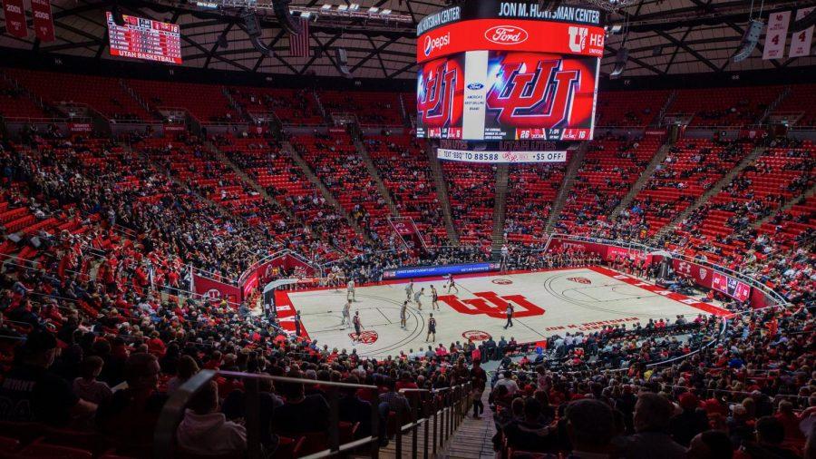 Caption The University of Utah plays against Stanford during an NCAA Basketball game at the Jon M. Huntsman Center in Salt Lake City, Utah on Thursday, Feb. 6, 2020. (Photo by Kiffer Creveling | The Daily Utah Chronicle)
