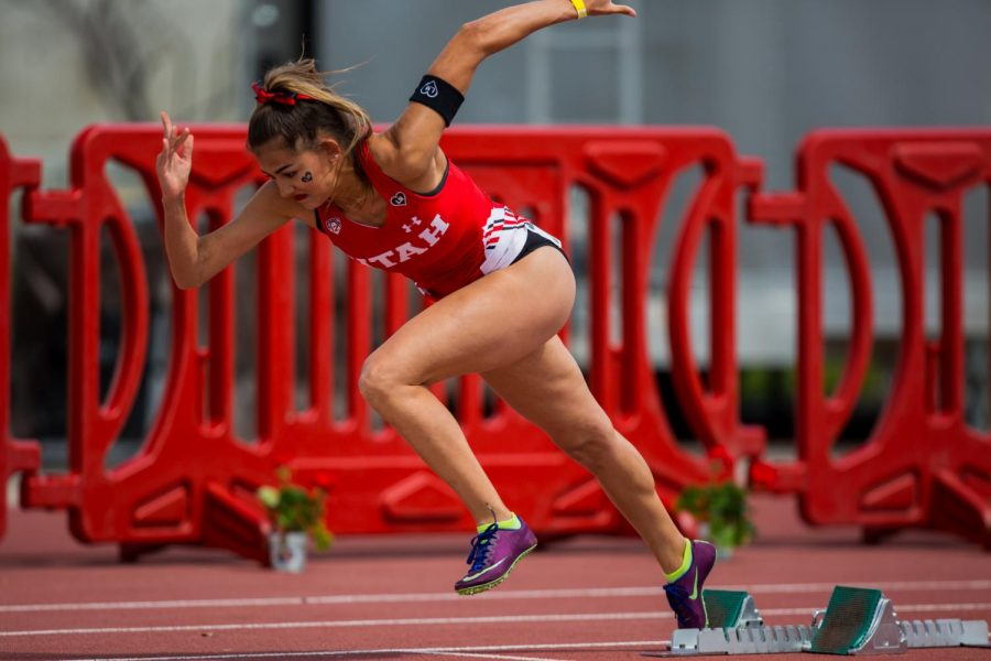 University of Utah junior hurdler Brooke Martin started out of the blocks during the Women's 400 Meter Hurdles in an NCAA Track and Field meet at the McCarthey Family Track and Field Complex in Salt Lake City, Utah on Saturday, April 13, 2019. (Photo by Curtis Lin | Daily Utah Chronicle)