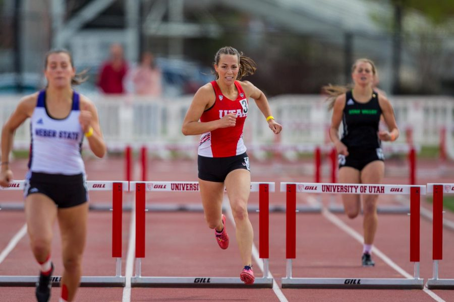 University of Utah sophomore hurdler Ruby Jane Mathewson (3) during the Women's 400 Meter Hurdle event in an NCAA Track and Field meet at the McCarthey Family Track and Field Complex in Salt Lake City, UT on Saturday April 13, 2019.(Photo by Curtis Lin | Daily Utah Chronicle)